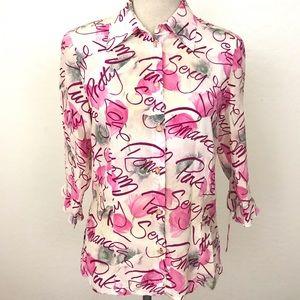 Escada Vintage 100% Silk Printed Blouse Size 36